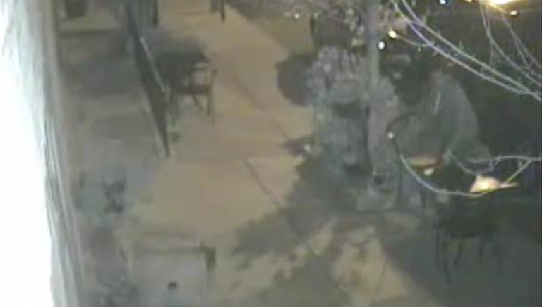 Surveillance cameras picked up images of a man who swiped outdoor patio furniture from the Epicure Cafe in East Falls. (Image courtesy of PPD)