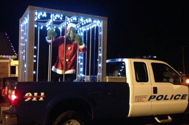 The jailed Grinch Monday evening in Ocean Township. (Image: Ocean Township Police Department)