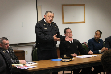 Police Commissioner Charles Ramsey responds to residents' concerns at town-and-gown meeting near La Salle University. (Matthew Grady/for NewsWorks)