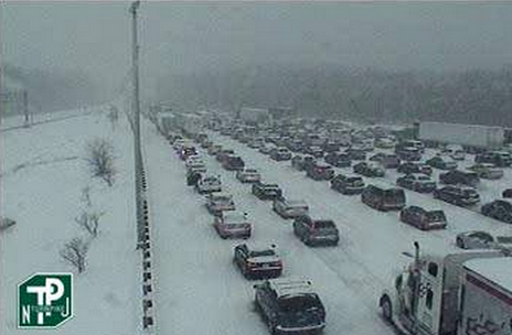 NJ Turnpike near the Delaware Memorial Bridge around 1 p.m. today. (Image: 511nj.org)