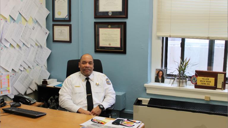 Capt. Michael Craighead at 39th District Headquarters. (Matthew Grady/for NewsWorks)