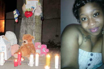 A memorial honoring Ceeanna Pate (right) sits at the corner of Clarissa and Brunner streets in Nicetown during an October vigil in her memory. (Brian Hickey/WHYY)