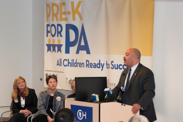 Philadelphia District Attorney Seth Williams speaks at Thursday's event. Also pictured: Sharon Easterling (DVAEYC) and Jill Michal (United Way). (Photo Courtesy of PreK for PA)