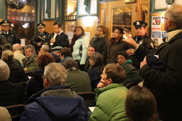 Police Commissioner Charles Ramsey fields pointed questions from residents about police response times in their community. (Matthew Grady/for NewsWorks)