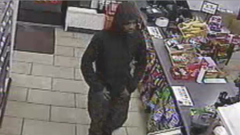 Surveillance footage of the alleged robbery suspect. (Courtesy of Philadelphia Police)