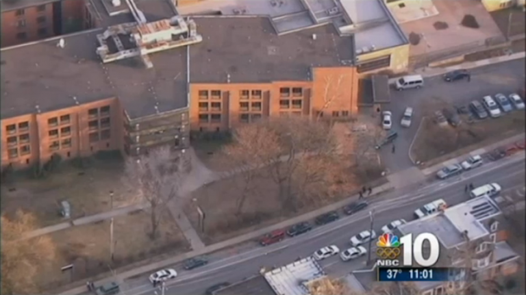 A view from above as police responded to the shooting at Delaware Valley Charter High School last month. (Image courtesy of NBC10)