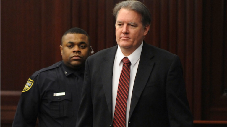 Defendant Michael Dunn is brought into the courtroom just before 5 p.m., where Judge Russell Healey announced that the jury was deadlocked on charge one and have verdicts on the other four charges as they deliberate in the trial of Dunn, Saturday, for the shooting death of Jordan Davis in Nov. 2012. Dunn is charged with fatally shooting 17-year-old Davis after an argument over loud music outside a Jacksonville convenience store. (AP Photo/The Florida Times-Union, Bob Mack, Pool)