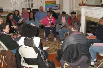 Members of the arts community gathered for Wednesday night's Germantown Artists Roundtable meeting. (Alaina Mabaso/for NewsWorks)