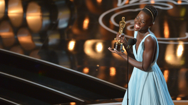 Lupita Nyong'o accepts the award for best actress in a supporting role for