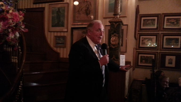 Former Gov. Ed Rendell, the night's keynote speaker, drew parallels between today's revitalization efforts in Germantown and yesteryear's in Center City. (Aaron Moselle/WHYY)