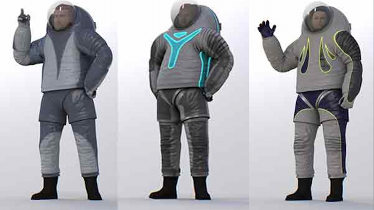 The three Philadelphia University spacesuit designs (L-R): 'Biomimicry,' 'Technology' and 'Trends in Society.' (Images courtesy of NASA)