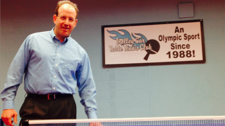 Ken Weinstein founded the non-profit Trolley Car Table Tennis Club more than three years ago. This weekend, it will host the state championships for the second time. (Brian Hickey/WHYY)