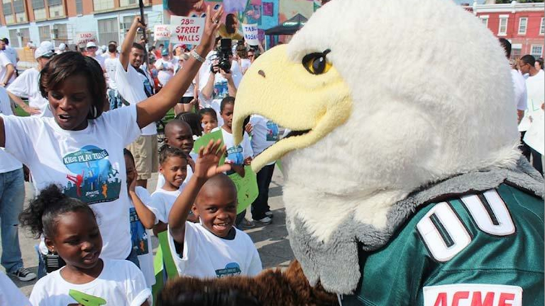 Last year's Eagles Playground Build was held at the William D. Kelley School in North Philadelphia. (Photo courtesy of the Eagles Youth Partnership)