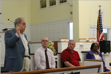 At Monday night's meeting (L-R) were Barnaby Wittels, Matt Wysong, John Grady and Rosalie Cooper. (Matt Grady/WHYY)