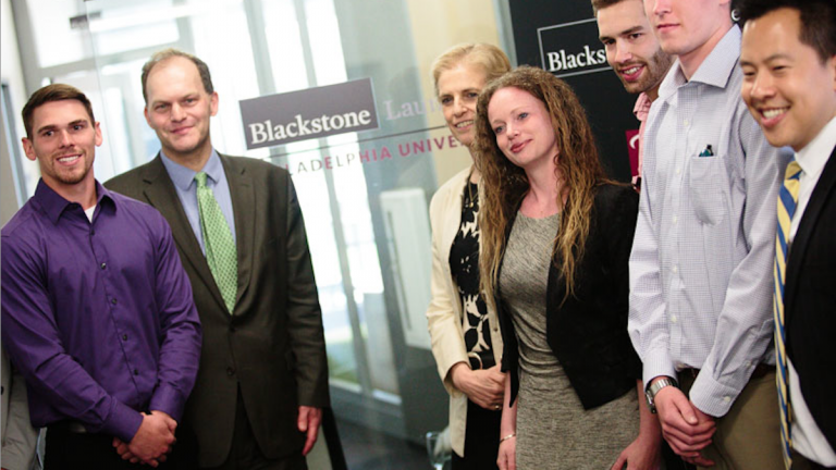 Blackstone executives celebrate its Charitable Foundation's partnership with local college campuses at a ribbon-cutting ceremony at Philadelphia University. (Photo courtesy of Philadelphia University)