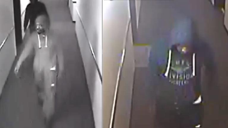 Surveillance footage of the two alleged burglars. (Image courtesy of Philadelphia Police)