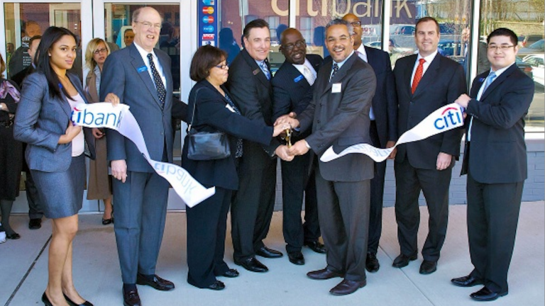 Scenes from the March 2012 ribbon-cutting ceremony for the Citibank branch in Chelten Plaza. The location is now closed. (Bas Slabbers/for NewsWorks)