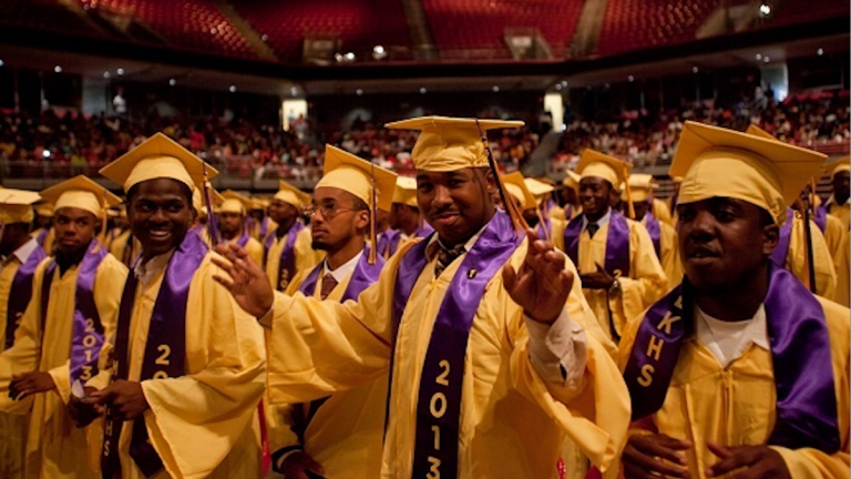 The 2014 graduation for MLK High School is the last of the Northwest Philly events this commencement season. (Photo from 2013 ceremony; Brad Larrison/for NewsWorks)