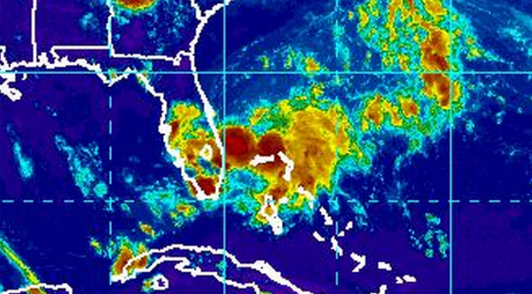 The disturbance off the southeastern US coast Monday afternoon that is expected to impact the area later in the week. (Image: NOAA)