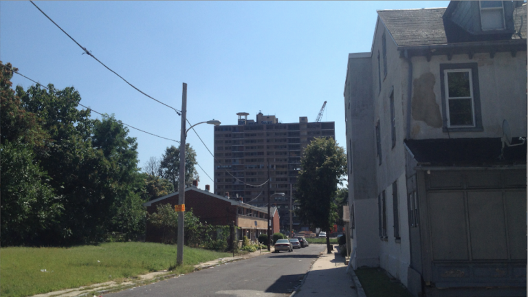 A view of the Queen Lane Apartments tower from W. Coulter St. at Alfred Ave. (Lou Mancinelli/for NewsWorks)