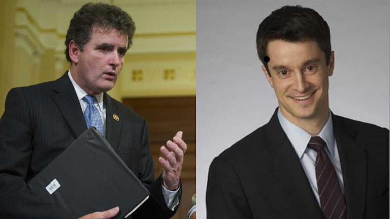 The Rothenberg Political Report last week labeled U.S. Rep Mike Fitzpatrick's seat 'safe' from challenger Kevin Strouse (right). (NewsWorks, file art)