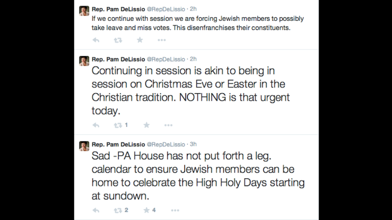 A screenshot of state Rep. Pam DeLissio's tweets on Wednesday afternoon.