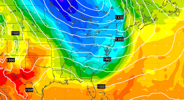 The GFS model output for Sunday morning