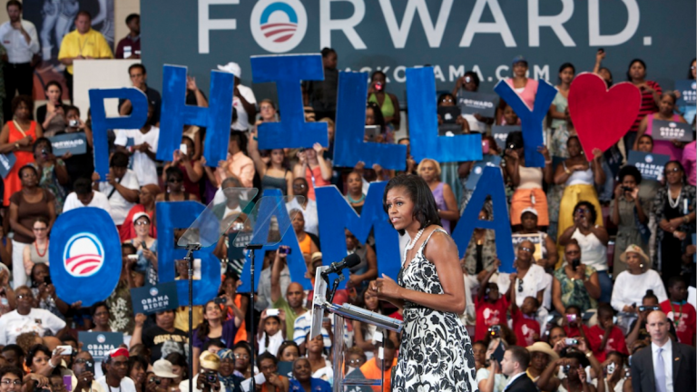 First lady Michelle Obama speaks in Philadelphia at an Aug. 2012 campaign event. (AP Photo/Brynn Anderson)