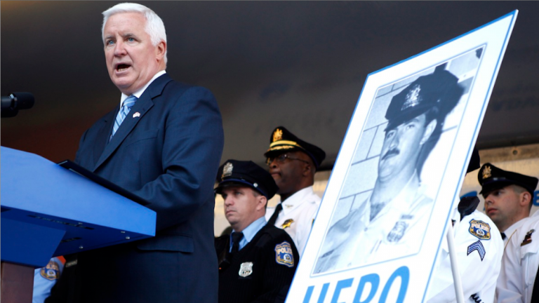 Gov. Tom Corbett speaks before signing the Re-victimization Relief Act on Tuesday. (AP Photo/Michael Sisak)