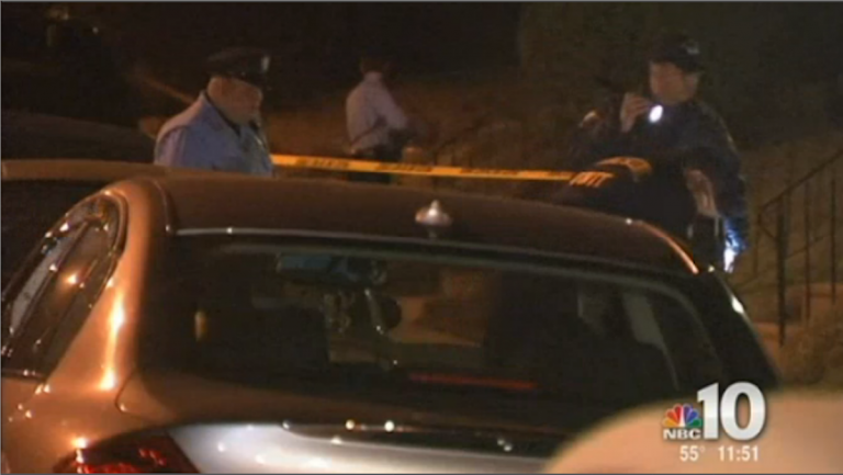 Investigators on the scene of Sunday night's fatal shooting in West Oak Lane. (Photo courtesy of NBC10)