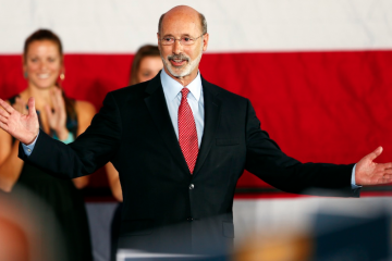 Pennsylvania Democratic Governor-elect Tom Wolf reacts to his defeat of Republican Gov. Tom Corbett in York, Pa. on Tuesday, Nov. 4, 2014. Wolf's victory came in a $73 million-plus race that broke Pennsylvania's campaign spending record, and it sent Corbett to a historic defeat as the first governor in modern Pennsylvania political history to lose a re-election bid. (AP Photo/Matt Rourke)