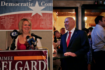 Republican Tom Macarthur defeated Aimee Belgard in an expensive, nasty race to represent New Jersey's 3rd congressional district. (Emma Lee/WHYY; AP Photo/Mel Evans)