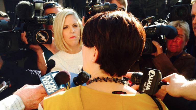 Nina Spizer, the attorney appointed to represent abduction suspect Delvin Barnes, speaks to the media after Wednesday's brief hearing. (Brian Hickey/WHYY)