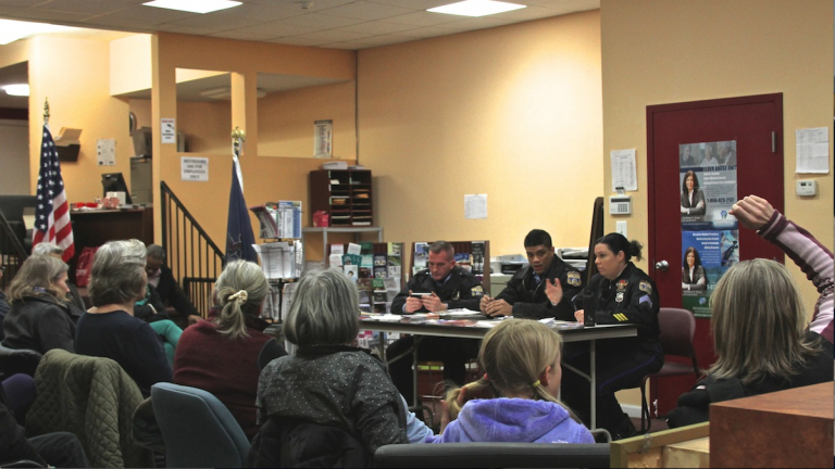 A recent high-profile homicide prompted a larger-than-normal turnout at the 39th Police District PSA meeting in Germantown. (Lauren Gruber/for NewsWorks)