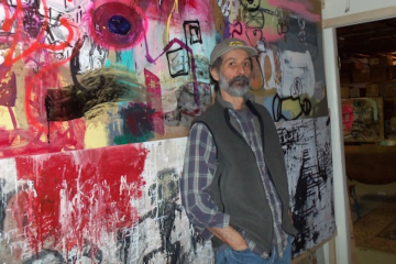 Calvin Schenkel is probably best known for his art and art direction on dozens of album covers for figures like Frank Zappa and Tom Waits. (Alaina Mabaso/for NewsWorks)