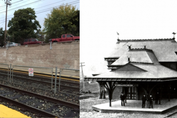 (L-R) The proposed mural's location; the original Wissahickon Station on the Philadelphia and Reading Railroad, designed by Frank Furness and completed in 1882. (Images courtesy of Sara Sequin)