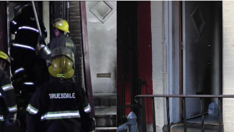 (L-R) Sunday morning activity at the Coulter St. fire; the door of the neighboring property that had been firebombed two weeks ago. (Courtesy of 6abc; Brian Hickey/WHYY)