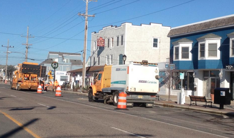 Construction trucks on Route 35 in Lavallette on Dec. 15, 2014. (Photo courtesy of Tyler Mesanko)