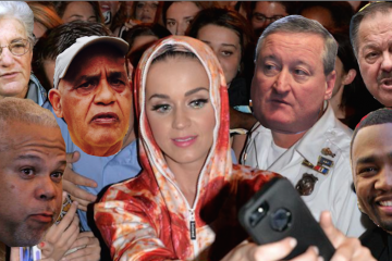 After an August concert, Katy Perry made good on a promise to meet her fans on the Art Museum steps. (NewsWorks illustration; original Perry photo courtesy of HughE Dillon)