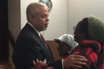 State Sen. Anthony Hardy Williams was keynote speaker at a Friday event at the Philadelphia VA Medical Center. (Brian Hickey/WHYY)