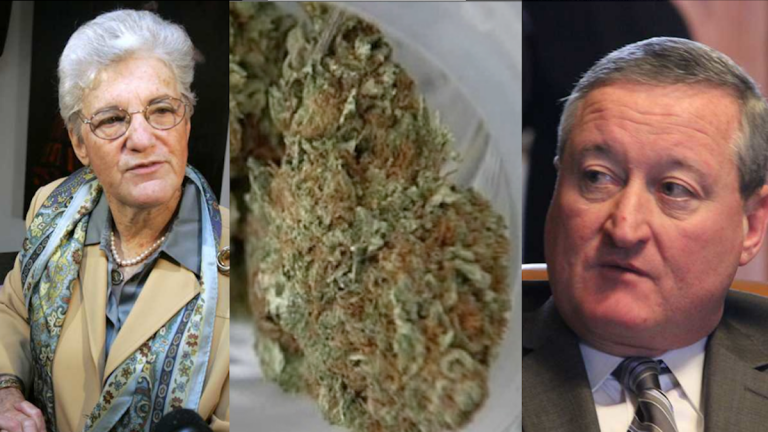 (L-R) Lynne Abraham, some weed, Jim Kenney. (NewsWorks illustration, file art)