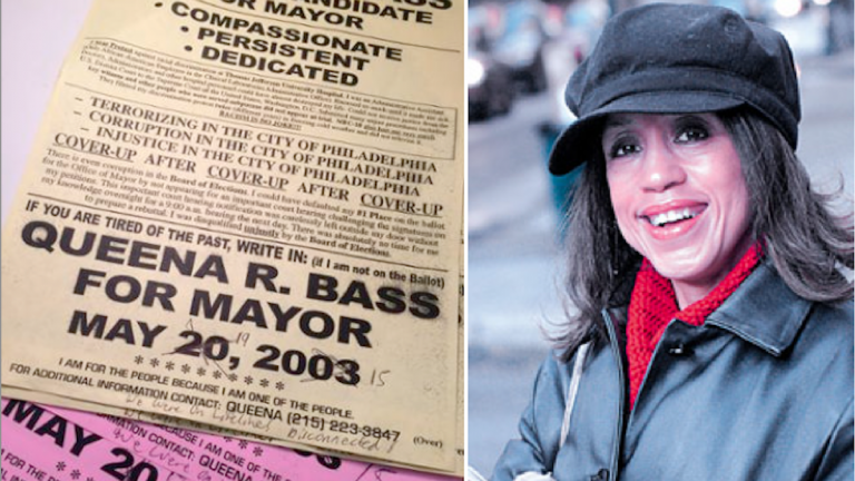 Queena Bass (right) left campaign flyers at the Daily News on Thursday. (Image courtesy of The Next Mayor)