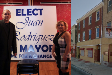 Juan Rodriuguez launched his campaign for mayor at a Germantown Avenue establishment that may or may not be a strip club. (Rodriguez photo courtesy of The Next Mayor/Nightclub exterior via Google Maps)