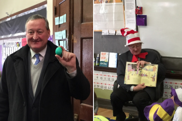 Democratic mayoral candidate Jim Kenney holds a green egg (left) and reads 'Oh, The Places You'll Go!' at a South Philly elementary school on Monday. (Brian Hickey/WHYY)