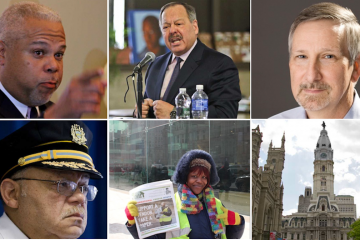 The faces of the quiz answers, with City Hall standing in for a duplicate. (NewsWorks, file art/bottom center via Al Dia)