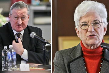 Seth Williams' corruption-charges announcement led to a nasty war of words between Jim Kenney and Lynne Abraham. (Kimberly Paynter/WHYY)