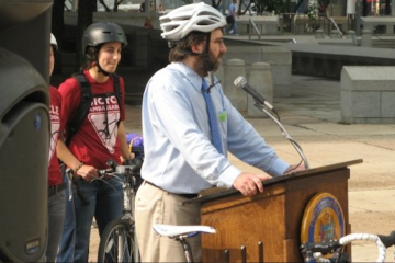 Alex Doty, executive director of the Bicycle Coalition of Greater Philadelphia, spoke about what his group wants from the city's next mayor. (Image courtesy of the BCGP)