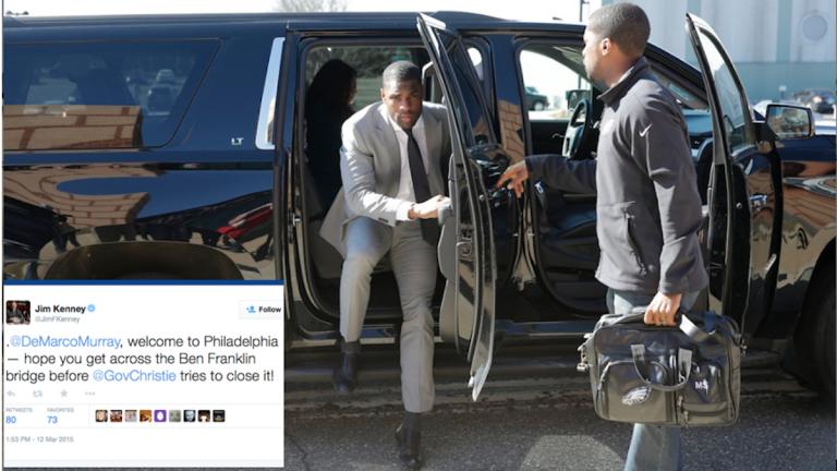 Running back DeMarco Murray arrives at the Philadelphia Eagles' NFL football practice facility, Thursday, March 12, 2015, in Philadelphia. (AP Photo/Matt Slocum)