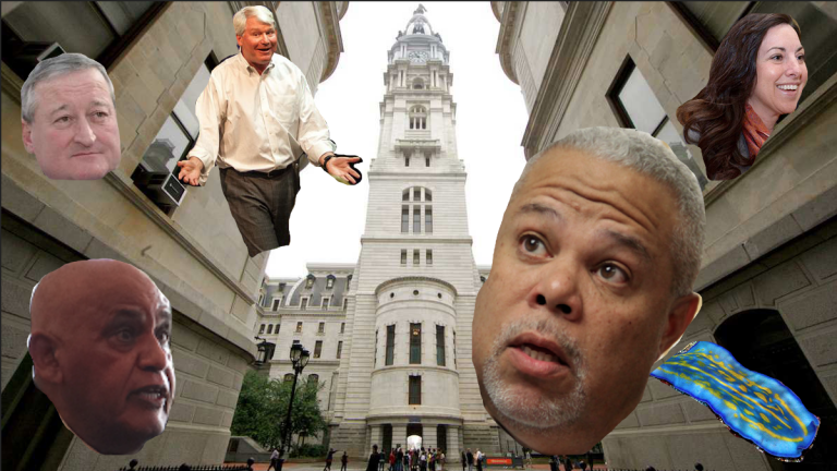 The answers in today's quotes quiz, with City Hall as a backdrop. (NewsWorks, photo illustration)