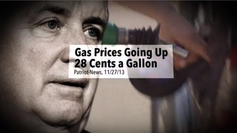 Screen grab from Tom Wolf's 'Fact Check' commercial in his 2014 campaign against then-Gov. Tom Corbett. (Image via Wolf For Governor YouTube page)